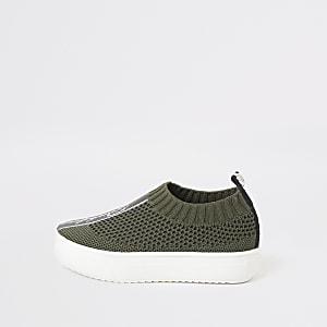 Mini – Prolific – Khakifarbene Strick-Sneaker für Jungen