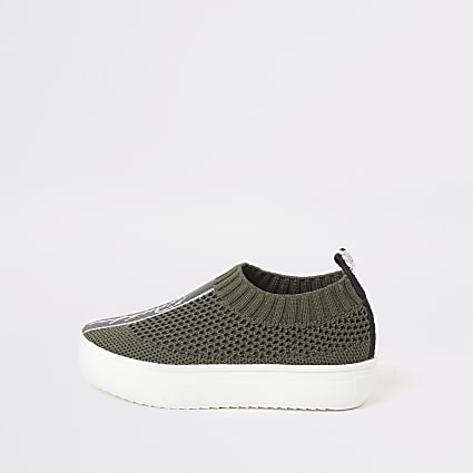 Mini boys khaki Prolific knit trainers