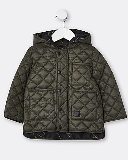 Mini boys khaki quilted jacket