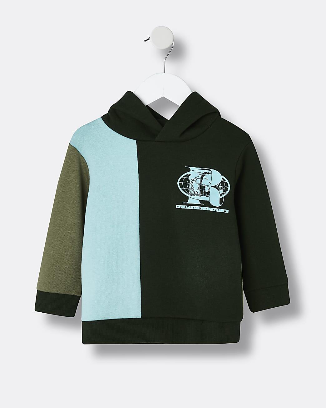 Mini boys khaki RI colour blocked hoodie