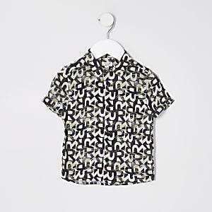 Mini - Kaki overhemd met RI-monogram en print voor jongens