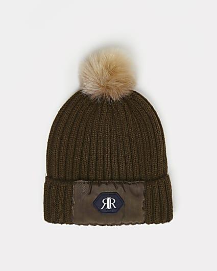 Mini boys khaki RI pom pom beanie hat
