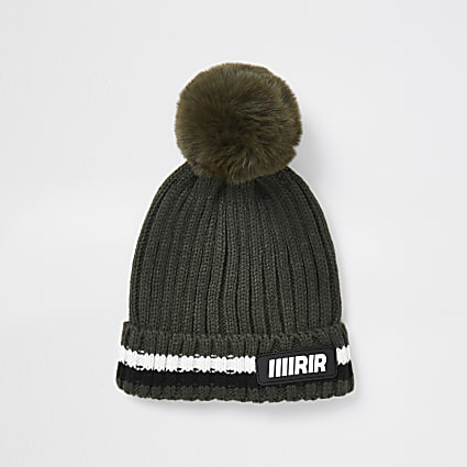 Mini boys khaki ribbed pom beanie hat