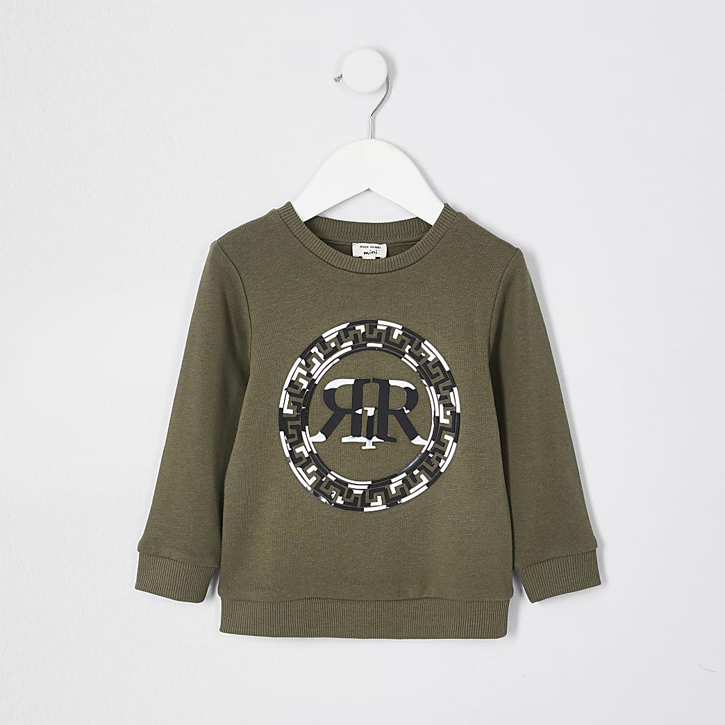 Mini boys khaki RIR marble print sweatshirt