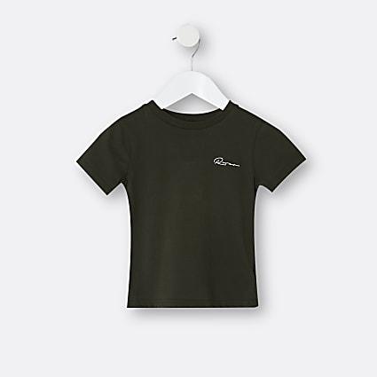 Mini boys khaki River embroidered t-shirt
