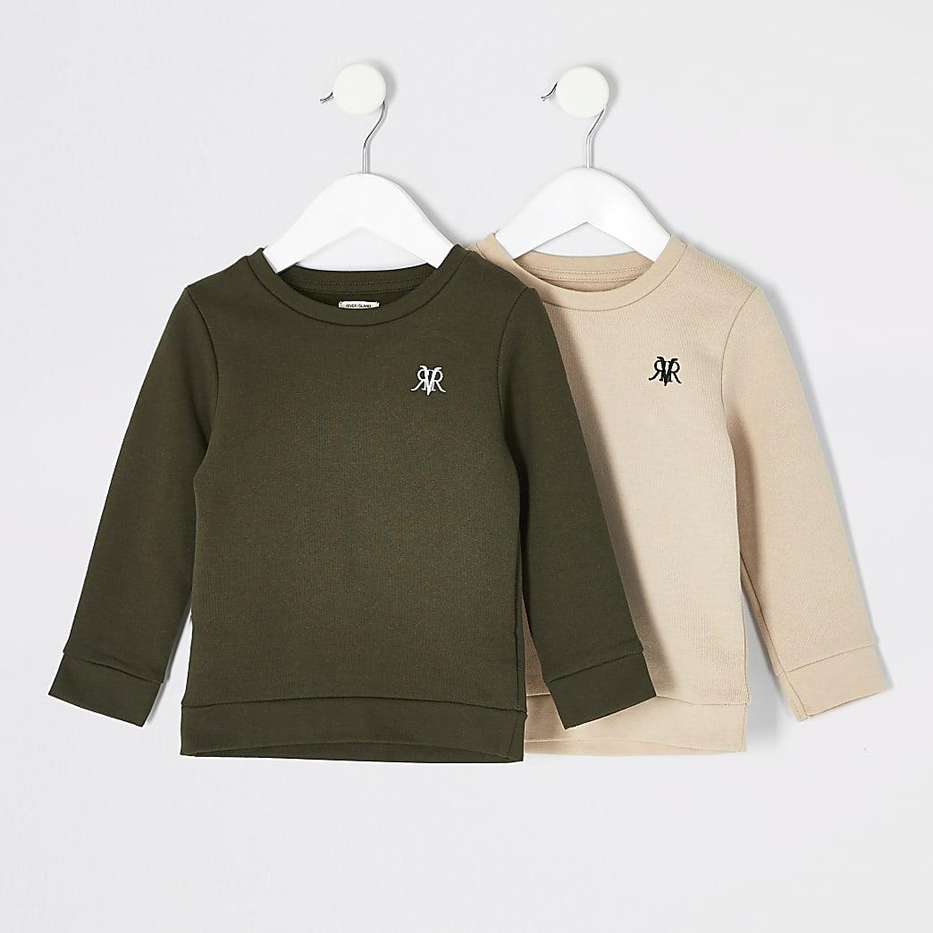 Set van 2 kaki en crèmekleurige sweaters met RVR-letters voor Mini-jongens