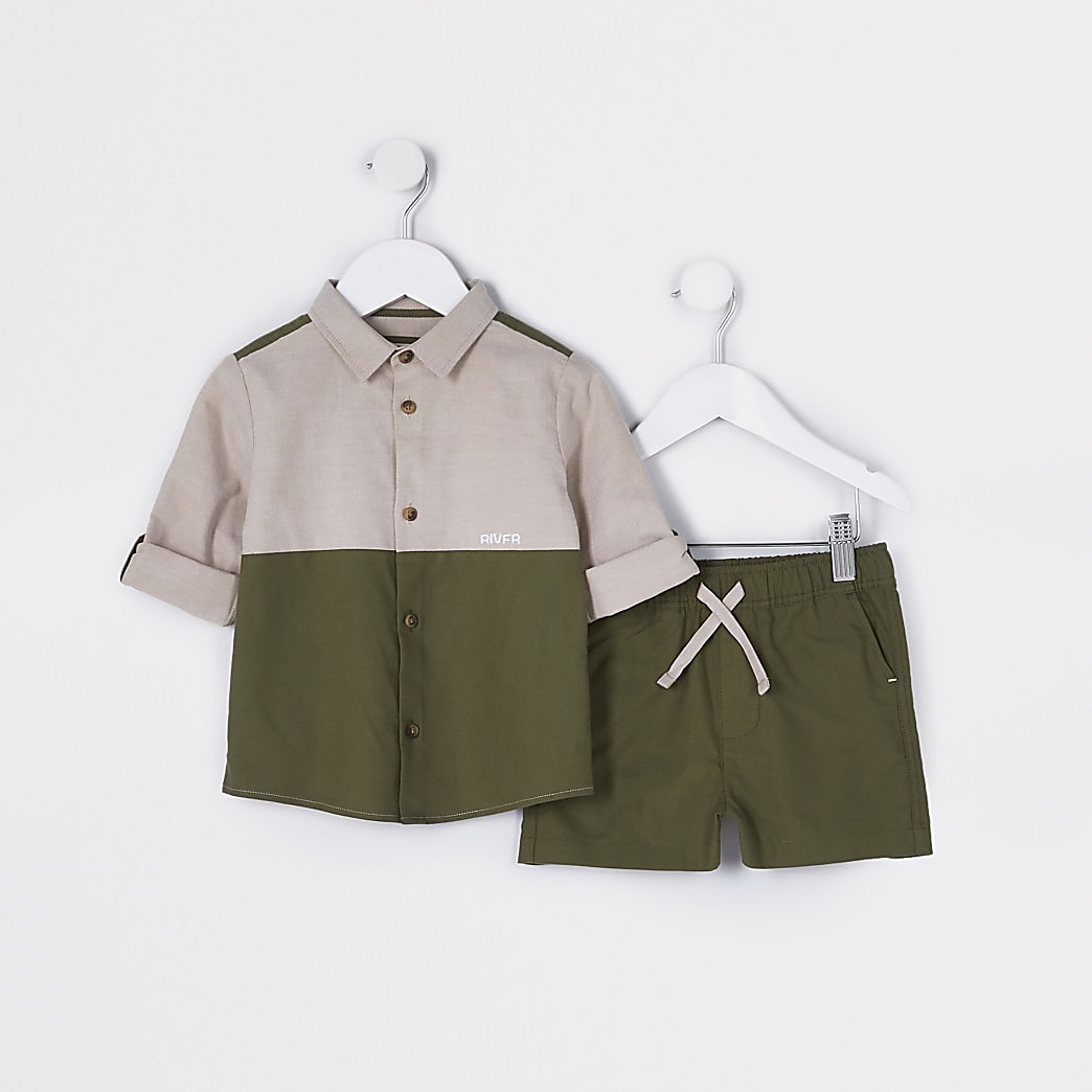 Mini boys khaki shirt and shorts outfit