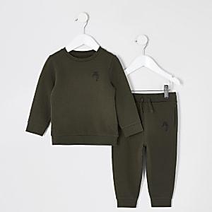 Mini boys khaki sweatshirt outfit