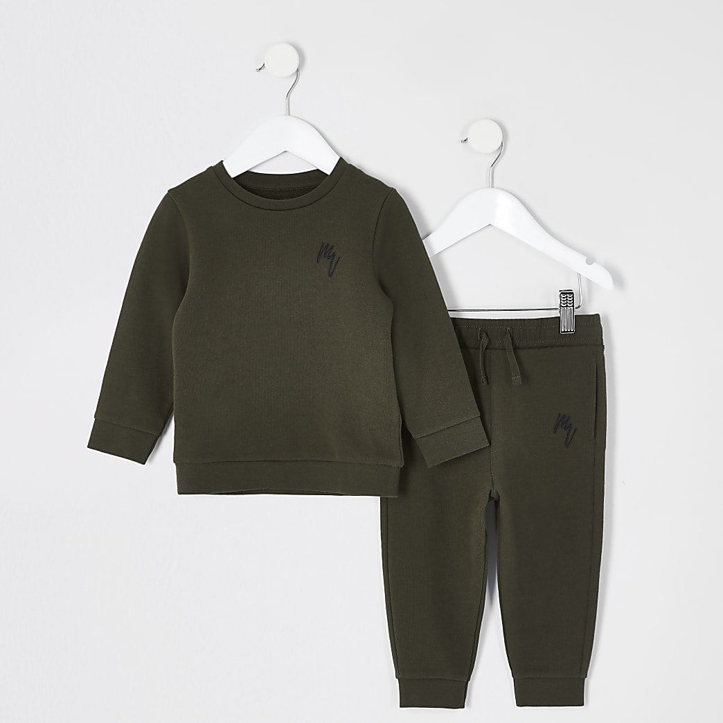Mini boys khaki sweatshirt outfit