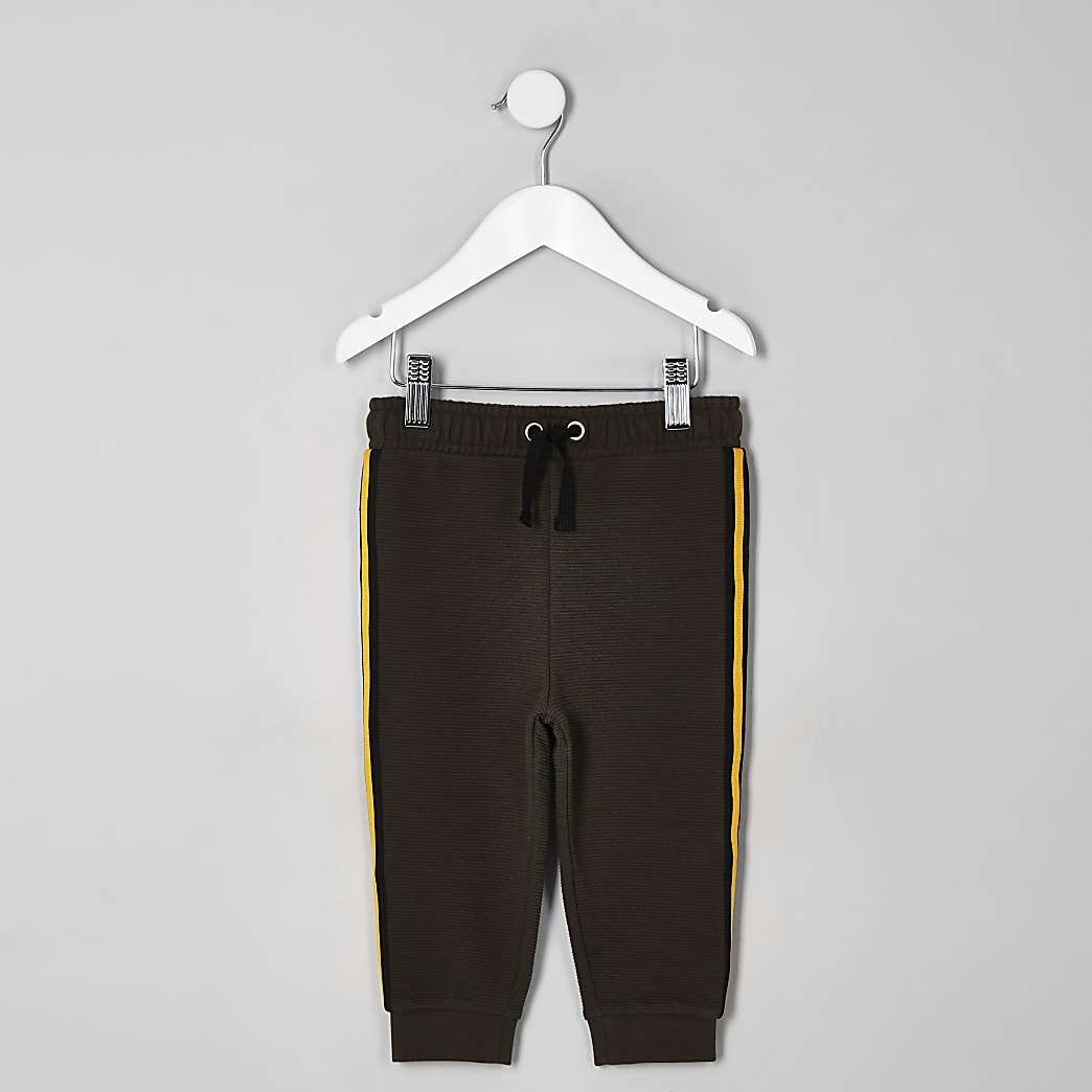 Mini boys khaki tape joggers