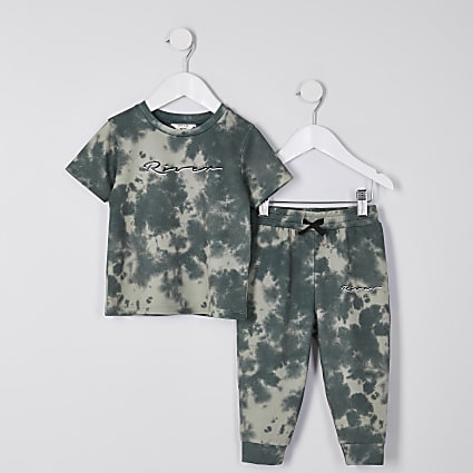 Mini boys khaki tie dye t-shirt outfit