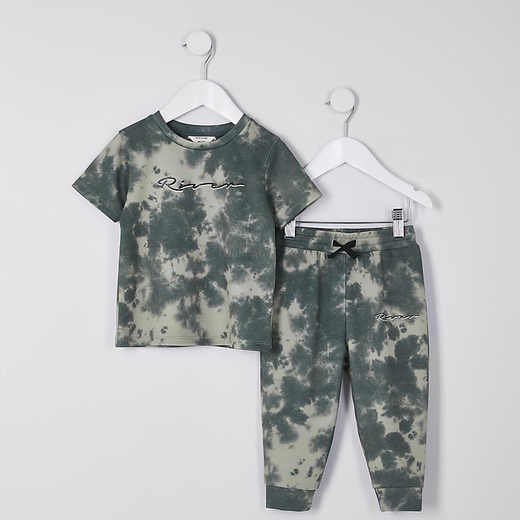 Mini boys khaki tie dye t-shirt outfit