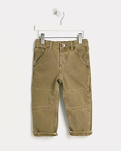 Mini boys khaki turn up hem jeans
