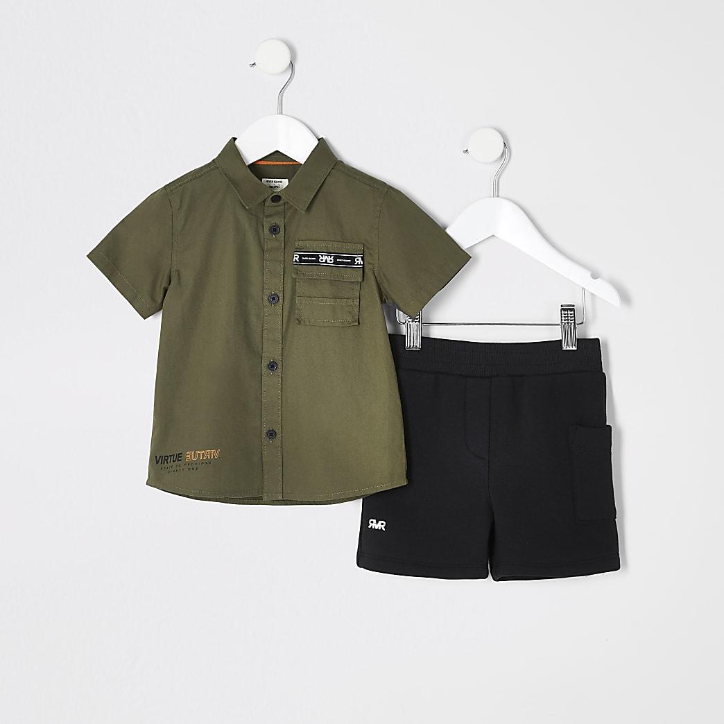 Mini boys khaki utility shirt outfit