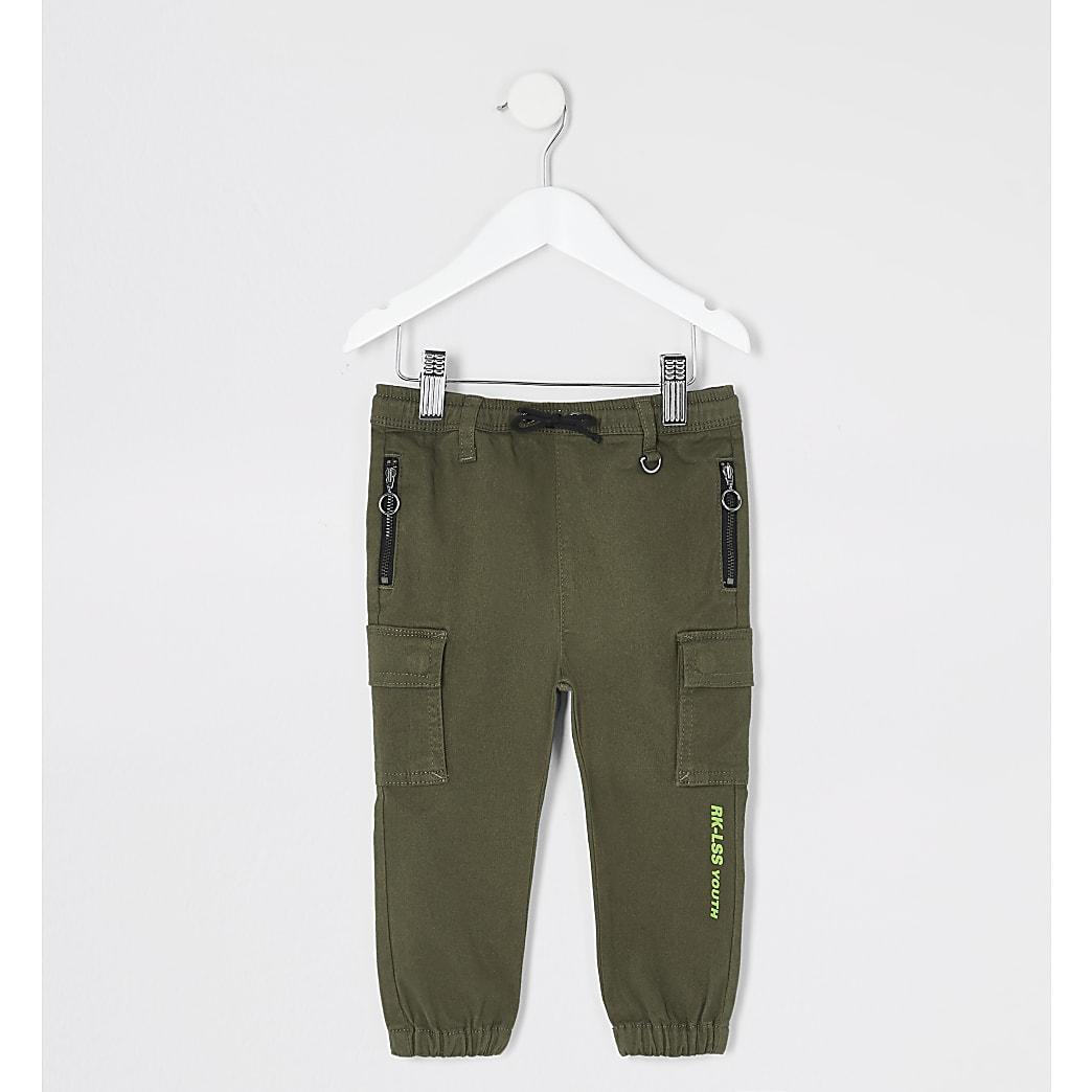 Mini - Kaki utility broek voor jongens
