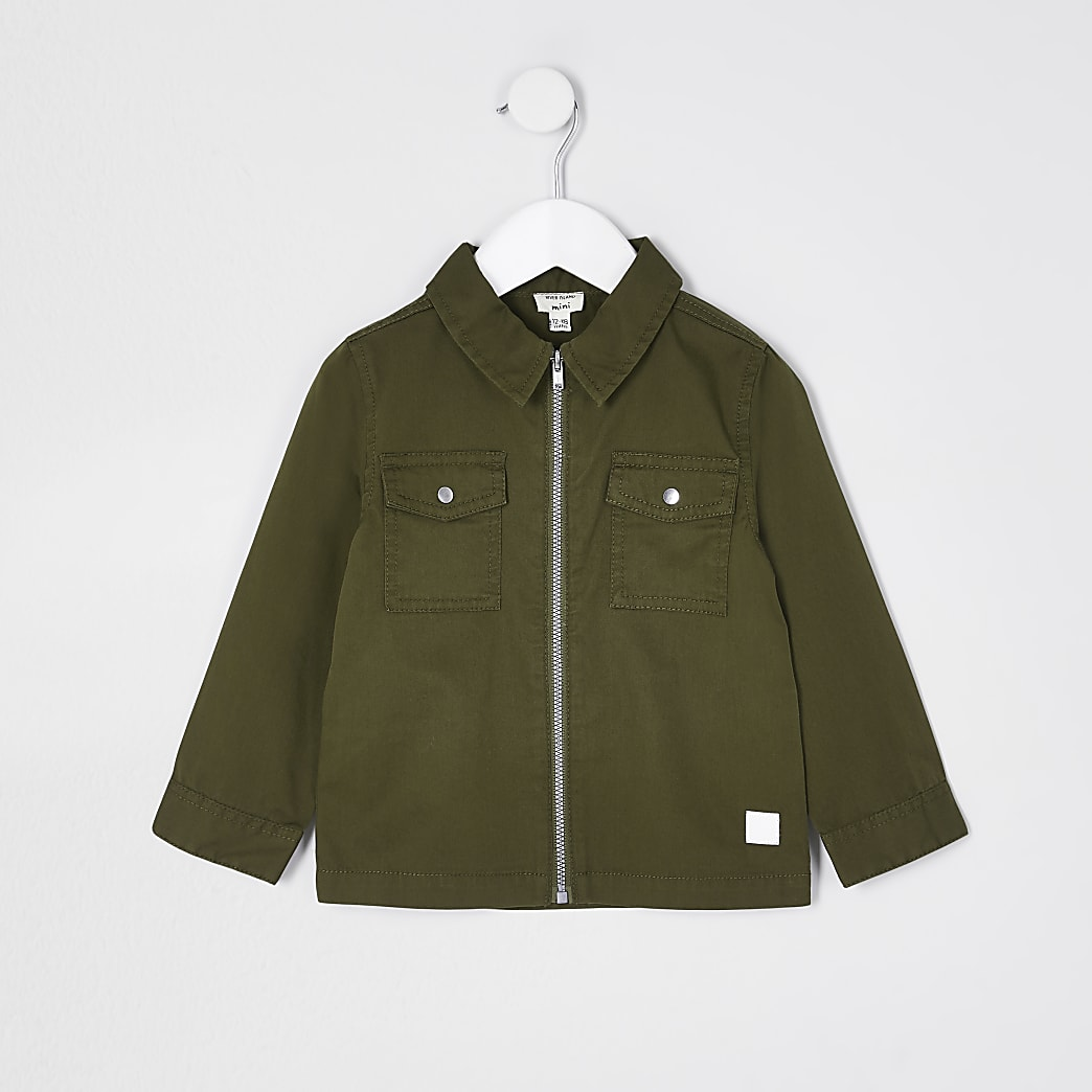 Mini boys khaki zip through overshirt