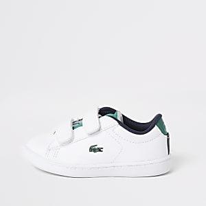 Lacoste ‒ Baskets blanches à Velcro Mini garçon