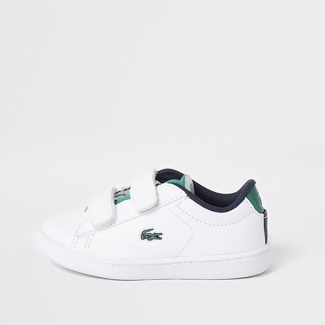 Mini boys Lacoste white velcro trainers