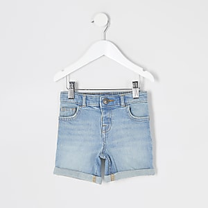 Mini boys light blue Dylan slim fit shorts