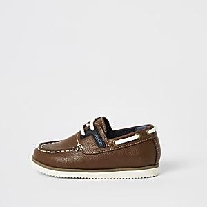 Chaussures bateau marron clairà lacets Mini garçon