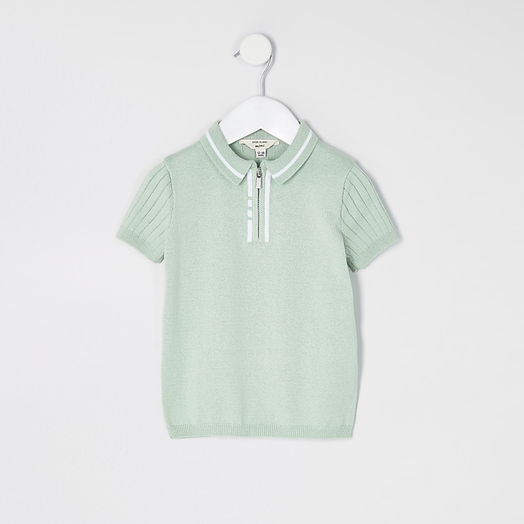 Mini boys light green knitted polo top