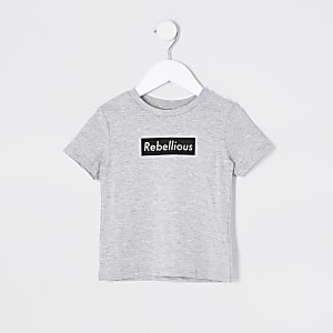 Mini boys light grey rebellious print t-shirt