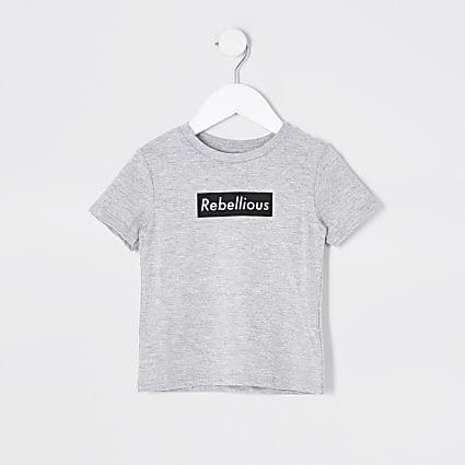 Mini boys light grey rebellious print t-shirt
