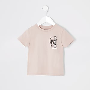 Mini – Hellpinkes T-Shirt mit Totenkopf-Print für Jungen
