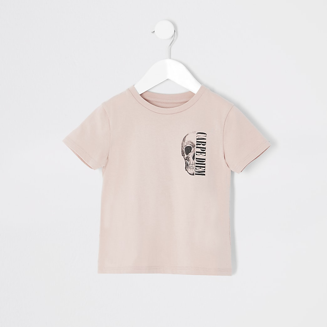 Mini boys light pink skull print T-shirt