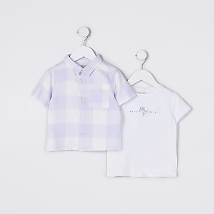 Mini boys lilac check 2 piece set