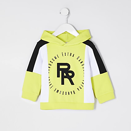 Mini boys lime block RR print hoodie