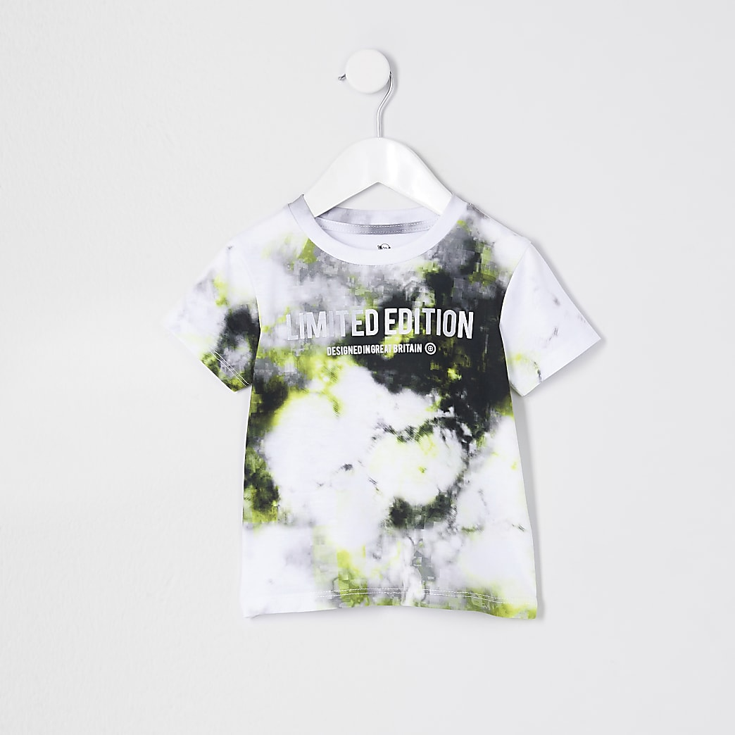 Mini boys lime glitch print t-shirt