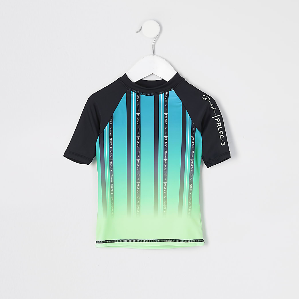 Mini boys lime Prolific stripe rash top