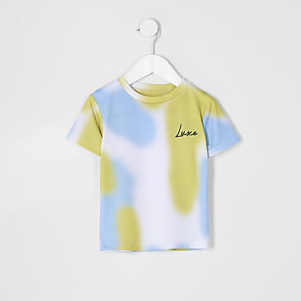 Mini boys 'Luxe' print tie die t-shirt