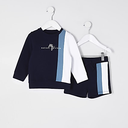 Mini boys Maison Riviera navy sweatshirt set
