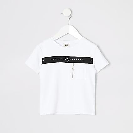 Mini boys Maison Riviera white zip t-shirt