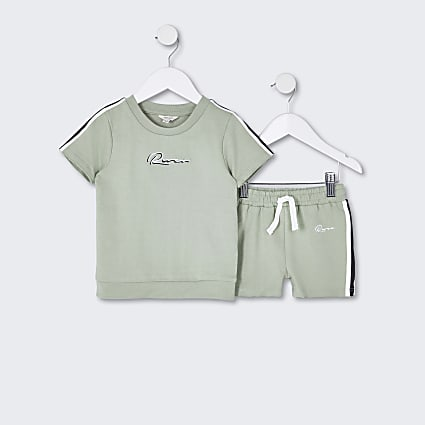 Mini boys mint green 'River' t-shirt outfit