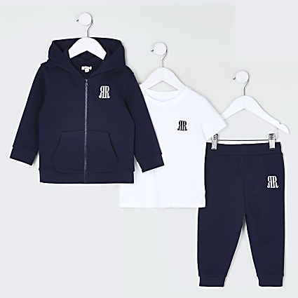 Mini boys navy 3 piece hoodie outfit