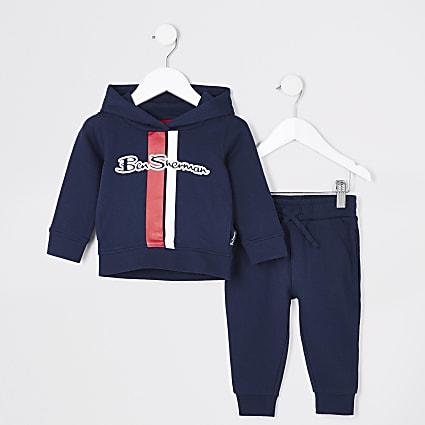 Mini boys navy Ben Sherman hoodie outfit