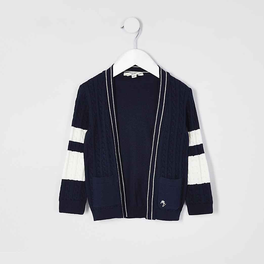 Mini boys navy cable knitted cardigian