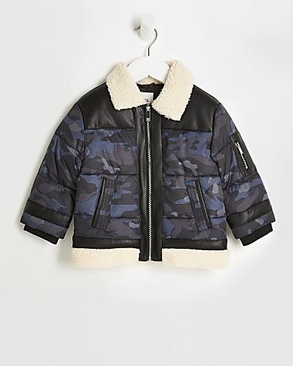 Mini boys navy camo borg trim puffer coat