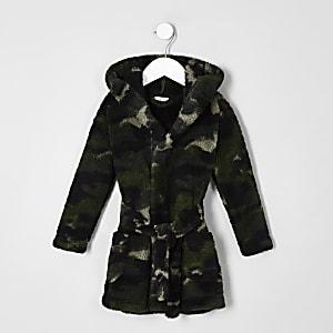 Mini - Marineblauwe badjas met camouflageprint voor jongens