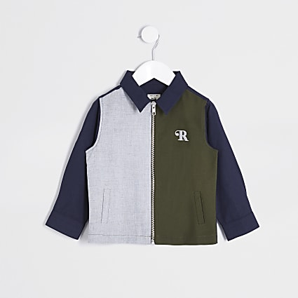 Mini boys navy colour block overshirt