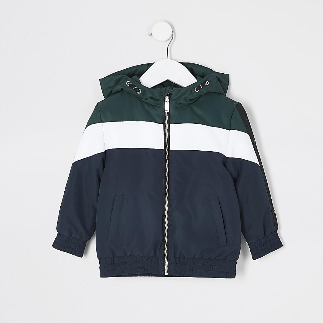 Mini - Marineblauw gewatteerd jack met kleurvlakken voor jongens