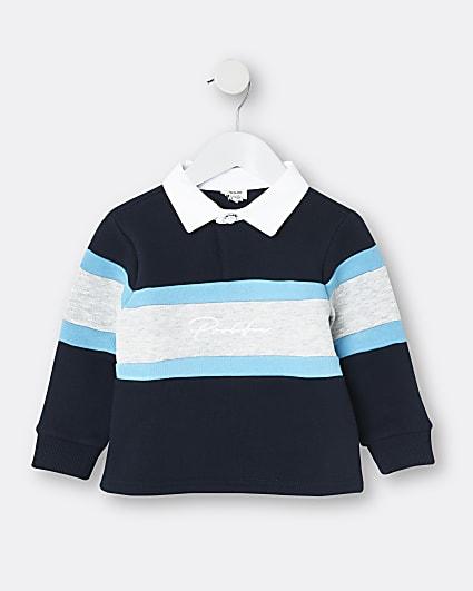 Mini boys navy colour block top