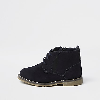 Mini boys navy desert boots