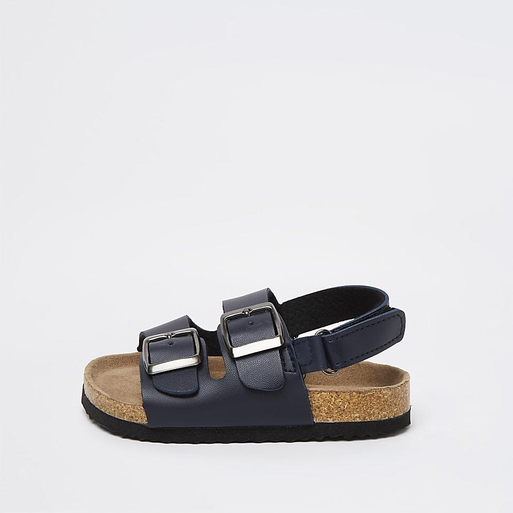 Mini boys navy double strap sandals