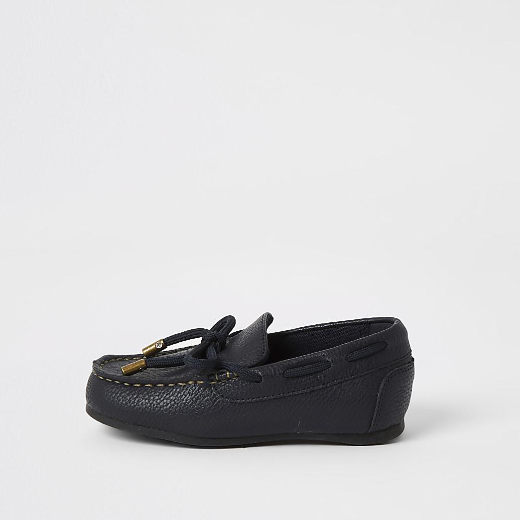 Mini boys navy faux leather driver shoes