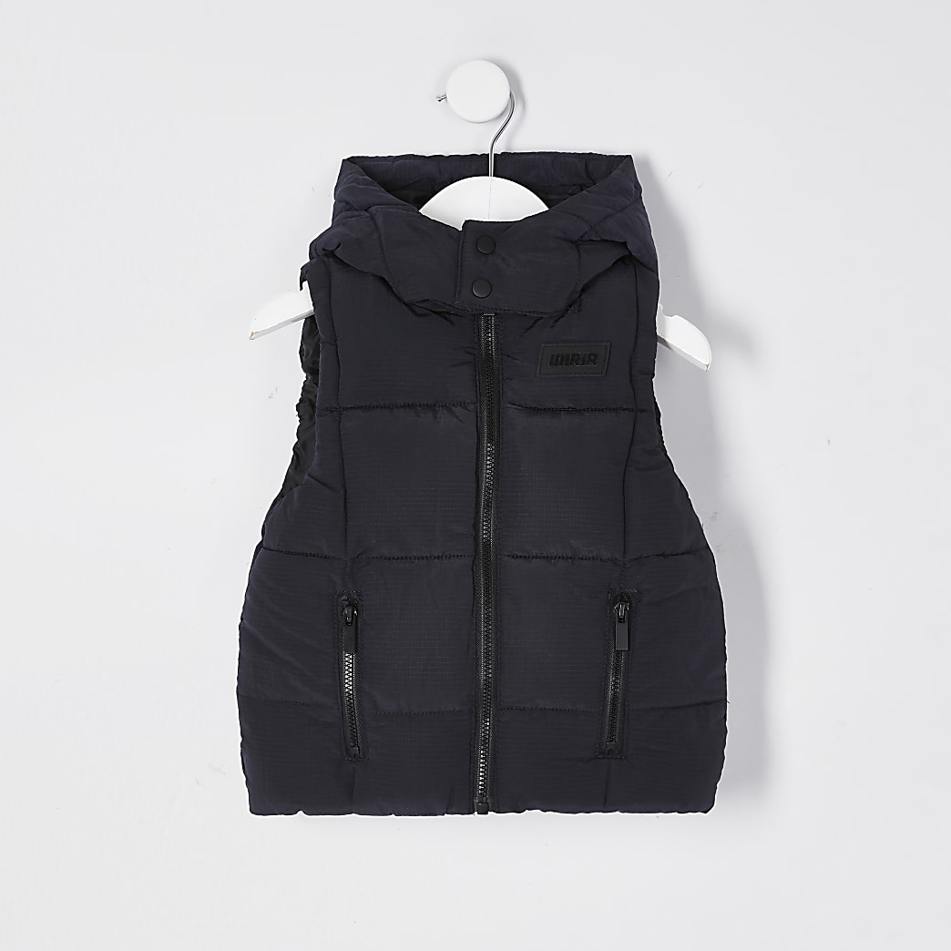 Mini boys navy hood quilted ripstop gilet