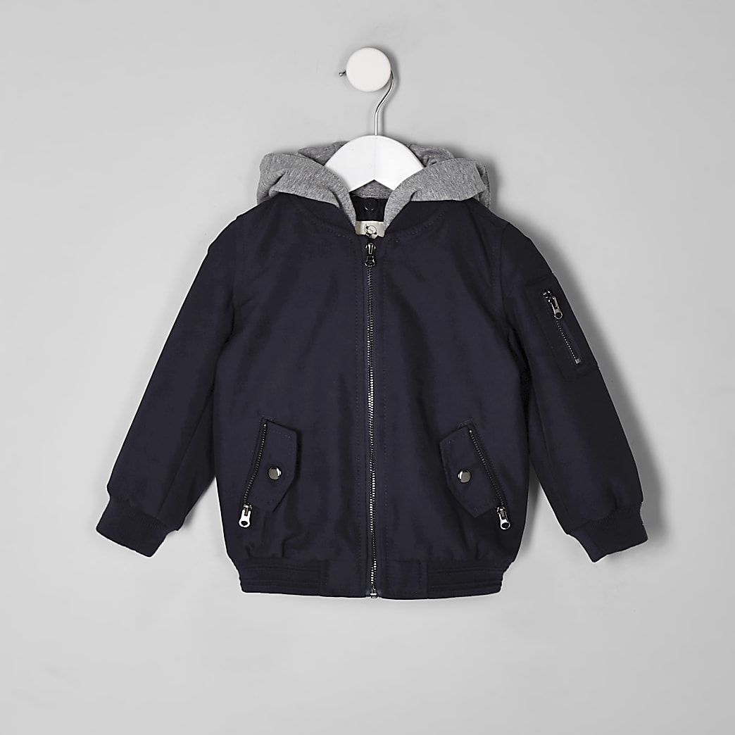 Mini boys navy hooded bomber jacket